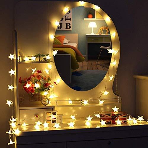 Cadena de luz,5 m, 40 LEDs, guirnalda de estrellas LED, uso interior/exterior, tira de luces, funciona con pilas, con 2 modelos, para árbol de Navidad, boda, Halloween, fiesta de cumpleaños, jardín