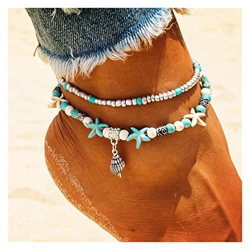 Sencillo y Elegante Shell Zhuhai Star Anklet Beach Beach Beklet Pulsera Pierna Hecha A Mano Boho Anklet Boho Jewelry Sandals Regalo para Regalo de joyería de Mujer (Metal Color : F178)