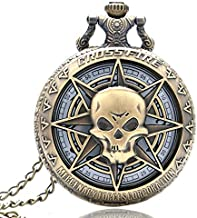 Heren Pocket Horloge Vintage Skull Cross Fire Stea...