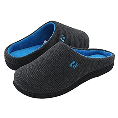 RockDove Two-Tone House Slippers for Women, Memory Foam Footbed w/ Indoor Outdoor Sole Dark Gray/Blue 9-10 B(M) US