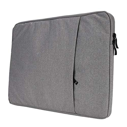 ASHATA Computertas, draagbare, ultradunne nylon laptoptas, 2-laags business-computerbeschermtas van suède, 2-laags ontwerp met grote capaciteit (lichtgrijs), 38 cm (15 inch)