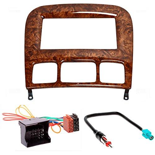 CARAV Façade d'autoradio 2 DIN pour Mercedes-Benz Classe S (W220) 1998-2005 (Wooden) + câble adaptateur ISO et antenne