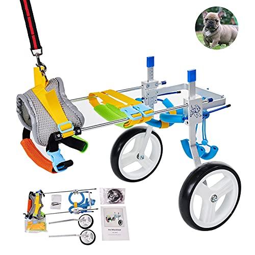 リハビリ犬用車椅子 柴犬、チワワ、トイプードル、シーフード、ダックスフントなど歩行障害 補助 歩行器 老犬介護 調節可能2輪犬用車いす S
