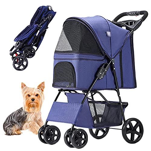 PETHOUSE einfach zusammenklappbarer Kinderwagen, Katzenwagen für kleine/mittlere Welpen mit Regenschutz, Joggingwagen für Haustiere mit 360 ° Vorderrad, grau, Kapazität 15 kg