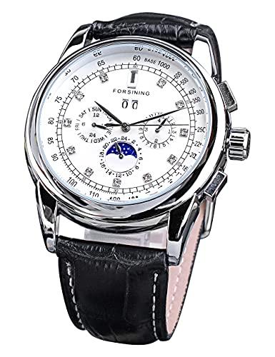 Forsining Relojes mecánicos de lujo con esfera grande de diamante para hombre, calendario completo, relojes automáticos para hombres, correa de cuero genuino elegante