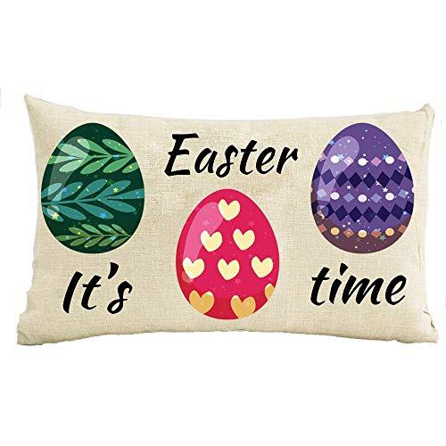 SSHELEY festival geschenken Es ist Pasen Zeit handgeschilderd kleurrijke eieren Happy Easter Faux Throw kussensloop kussensloop