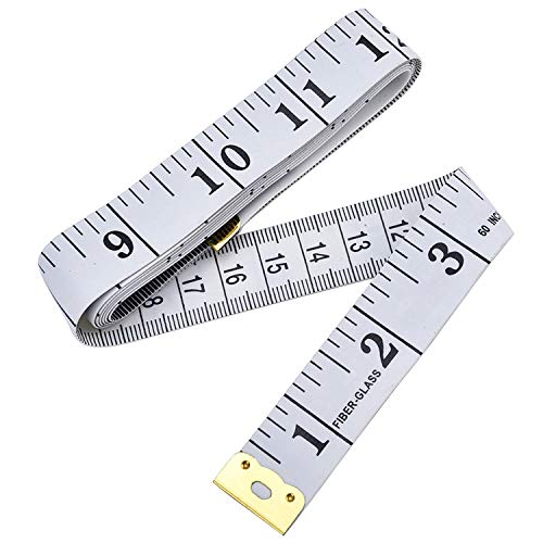 Cinta métrica de costura, cinta de medida, cinta suave para pecho ANG, circunferencia de cintura, 150 cm, color blanco