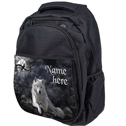 Personalised White Wolf School Bag Custom Fantasy Backpack Black Computer Rucksack Laptop Bag - ST732