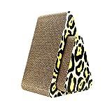 RUIXFLR Almohadillas Rascadoras Verticales para Gatos con Forma De Triángulo con Estampado De Leopardo 2 En 1 Tablas para Raspar Gatos Corrugado Salón, Yellow