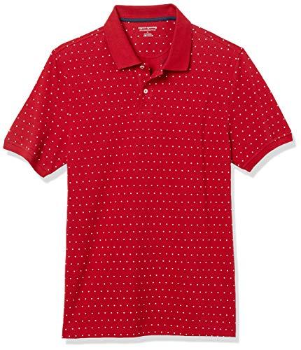 Amazon Essentials Slim-Fit Cotton Pique Polo Shirt Shirts, Punto Rojo/Blanco, S