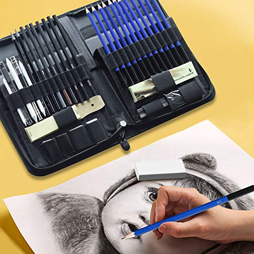 LARS360 Juego de 42 lápices de dibujo con lápiz de grafito, lápices de carbón, lápices de papel, sacapuntas, radios, bloc de dibujo, estuche para artistas, principiantes, estudiantes