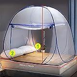 Pop Up Moskitonetz für Doppelbett, Large Portable Zelt Travel Doppeltür Reißverschluss Bettnetz, einfache Installation, feinmaschig, für Schlafzimmer Outdoor Camping, keine Haken, keine Chemikalien - 2