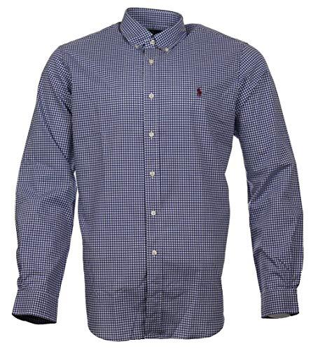 Ralph Lauren Langarm Hemd - Blau Weiß kariert mit rotem Logo (L)
