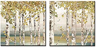 Decor Well 2 Pieces Modern Aspen Canvas Art Decor, Rustic White Birch Tree Painting Print on Stretched Canvas for Wall Decoration