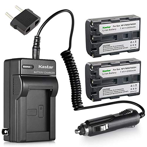 Kastar 2 X NP-FM50 InfoLithium Battery and Charger Kit for Select Sony M Type Equivalent Camcorder/Digital Camera