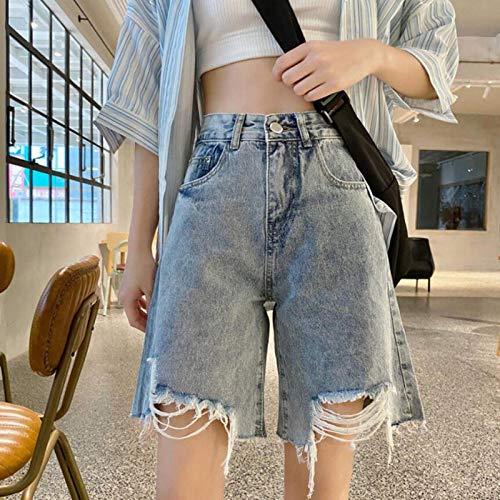 Jeans Hose Sommerjeans Jeans Schwarze Jeanshose Skinny Capris Jeans Frau Stretch Knielange Jeansshorts Frauen Hohe Taille Hosen S Blau