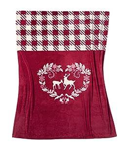 Fleuresse 2871 Fb. 4 Microflausch-Decke, 150 x 200 cm, rot gemustert