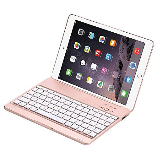 Bluetooth Keyboard Case For iPad Air 2/Pro 9.7 Smart 7 Colors LED Backlight Cover With 2800mAh Power Bank for iPad Air Pro 9.7-Rose Gold