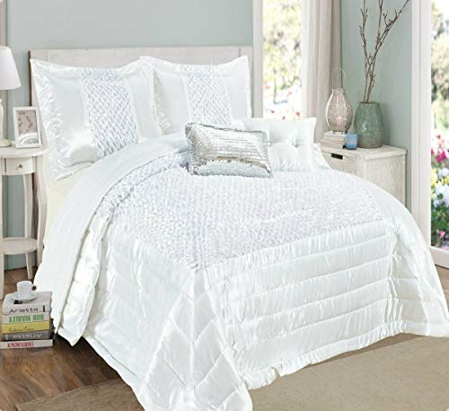 MiMi's Warehouse Collection New Modern Designs 3 Piece Ruffled Sequin Savio Quilted Bedspread Comforter Bed Set 100% POLYESTER (White, Double/King)