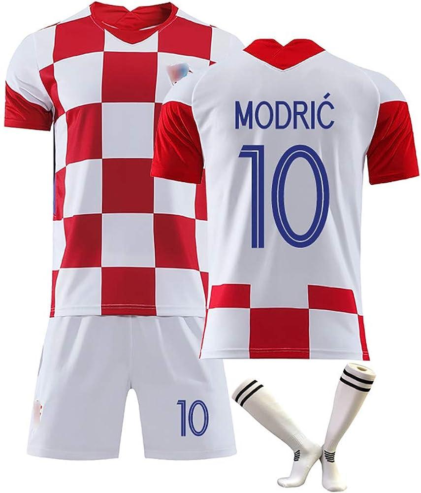 anpassbar 10 Modric 17 Mandzukic Supporters Trikot neues kroatisches Trikot Kinderfu/ßballtrikot Sportkleidung f/ür Erwachsene mit Fu/ßballsocken