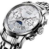SHOUTAOB Reloj automático de los hombres relojes de marca de lujo masculino reloj de acero inoxidable automático mecánico relojes hombres Relogio Masculino RZTZDM (color: blanco plateado)