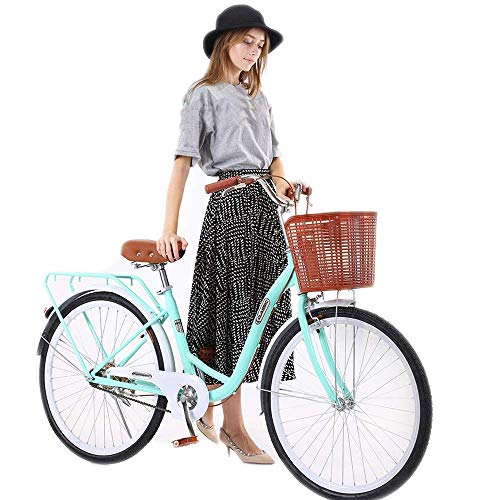 Gorunning Women's Classic Cruiser Bike, 26 Inch Unisex Classic High-Carbon Steel Bicycle with Front Basket & Bell, Retro Bicycle Unique Art Deco Scooter, Rear Racks Road Bikes