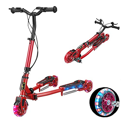 DODOBD Patinete Y Fliker Scooter de 3 Ruedas Plegable Swing Scooter de Oscilación para Niños con Freno Altura AjustableTri Slider Patinetes para niños y niñas 3 a 10 años Carga 100kg