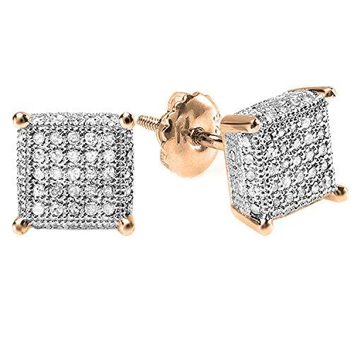 Dazzlingrock Collection Pendientes de tuerca de diamante redondo de 0,55 quilates con forma de dados para hombre, 1/2 quilates, oro rosa de 14 quilates