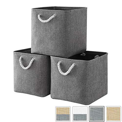Mangata Canvas Cube Box, Cesta de Almacenamiento de Tela (33 × 33 × 33 cm) para Juguetes, Toallas y Ropa, Gris (Paquete de 3)