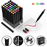 48 colors Alcohol Brush Markers, Brush Chisel Dual Tipped Artist Sketch Markers for Sketching for Adult. 1 colorless blender and Highlighter Bonus, Mother's Day Gift Idea
