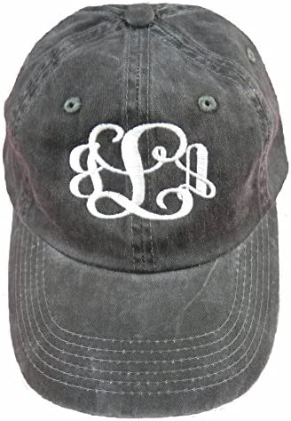 Port Authority Ladies Monogrammed Hat- Garment Washed Black Hat with White Thread!