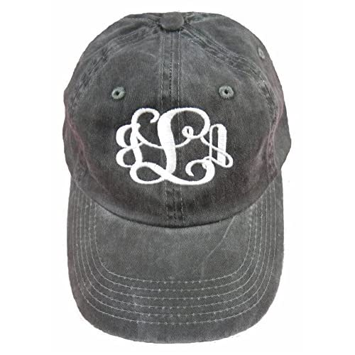 5b2f6bba Ladies Garment Washed Black Hat with White Thread Monogramed Hat!