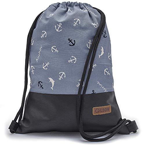 Leon By Bers Turnbeutel mit Innentaschen Reißverschluss Rucksack Beutel Tasche Damen Männer & Teenager Gym Bag Draw String (Marine_SwPU)