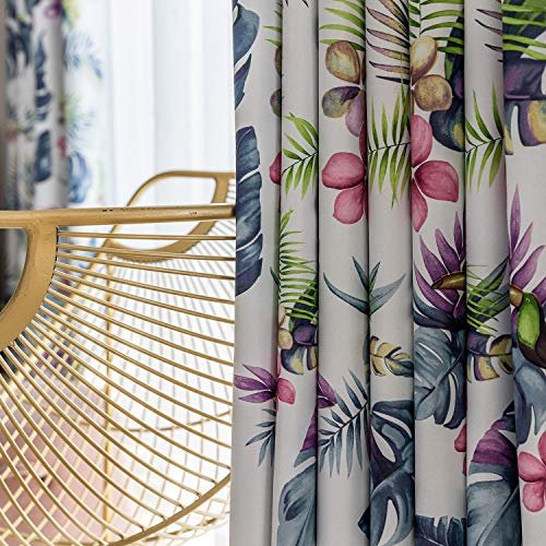 VOGOL Room Darkening Window Curtains, Tropical Leaves and Toucan Pattern Blackout Panels for Bedroom, 2 Pieces, Top Grommet
