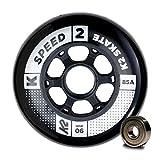 K2 Inline Skates Rollenset 90 mm Speed Wheel / ILQ 9 Ersatzrollen & Kugellager - Schwarz - 8 Rollen inkl. Kugellager - 30B3011.1.1.1SIZ