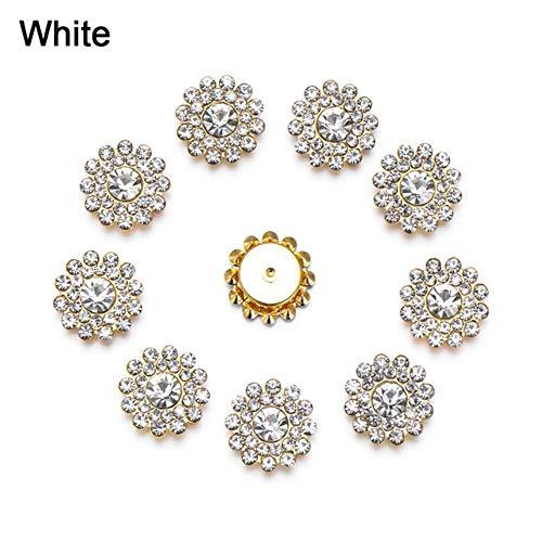 Modieuze creatieve 10 stuks/set bloem strass knopen parels knopen kleding decoratie DIY legering kristal arc nieuw naaitoebehoren wit