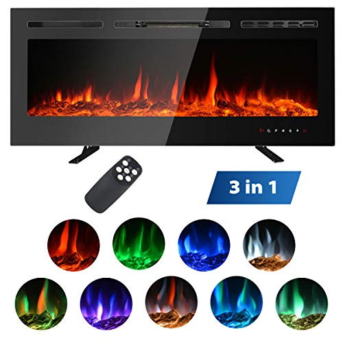 """MAXXPRIME 50"""" Electric Fireplace, Free Standing, Recessed and Wall Mounted Fireplace Insert Heater with Touch Screen Control Panel, Faux Fire Log & Crystal Options, 9 Flamer Color, 750/1500W"""