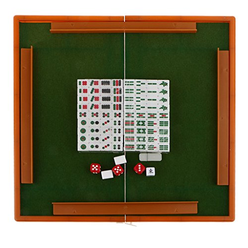Verdi #1 IPOTCH Kit di Mahjong Cinese con Dadi Scatola 177x143x27mm 15*11*7mm