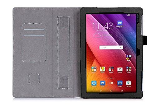 ISIN Funda para tablet Series - Funda de piel sintética con función atril para tablet ASUS Zenpad 10 de 10,1 pulgadas Z300M Z300C con velcro correa de mano y ranuras para tarjetas (Negro)