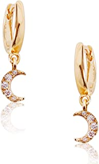 Humble Chic Huggie Hoop Earrings for Women - Small Round Cuff CZ Studs Tiny Crystal Mini Drop Loops