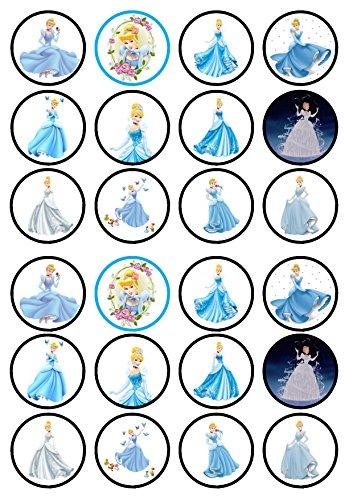 24Cenicienta princesa troquelada Disco de Cupcake–tarjeta de oblea comestibles decoración para tarta, Stand Up, 24 PRECUT