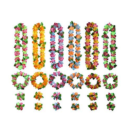 Collares Hawaianos Fiesta Guirnalda Flor Tropical Luau Hawaiano Guirnalda de Flores de Decoración de Fiesta de Hawaii Pulsera Hawaiana para Decoraciones de Fiestas Hawaianas Bodas en la Playa 24 Pcs