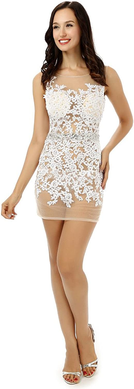 YSFS Women's 2016 Jewel Neck Sheer Lace Short Homecoming Cocktail Party Dress