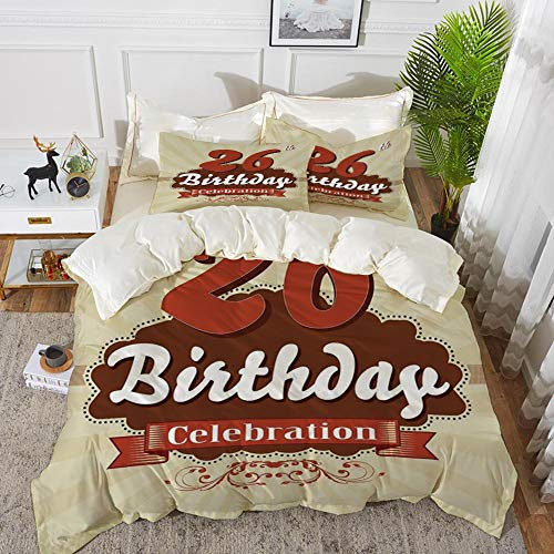 Luoquan Bedding Set Microfiber, 26 ° Compleanno Decorazioni, Stile Vintage Stilizzato Pop Art Anniversario Vecchio Design Artistico, Rosso Bordeaux,1 Quilt Cover200 x 2002 Pillowcase 50x80cm