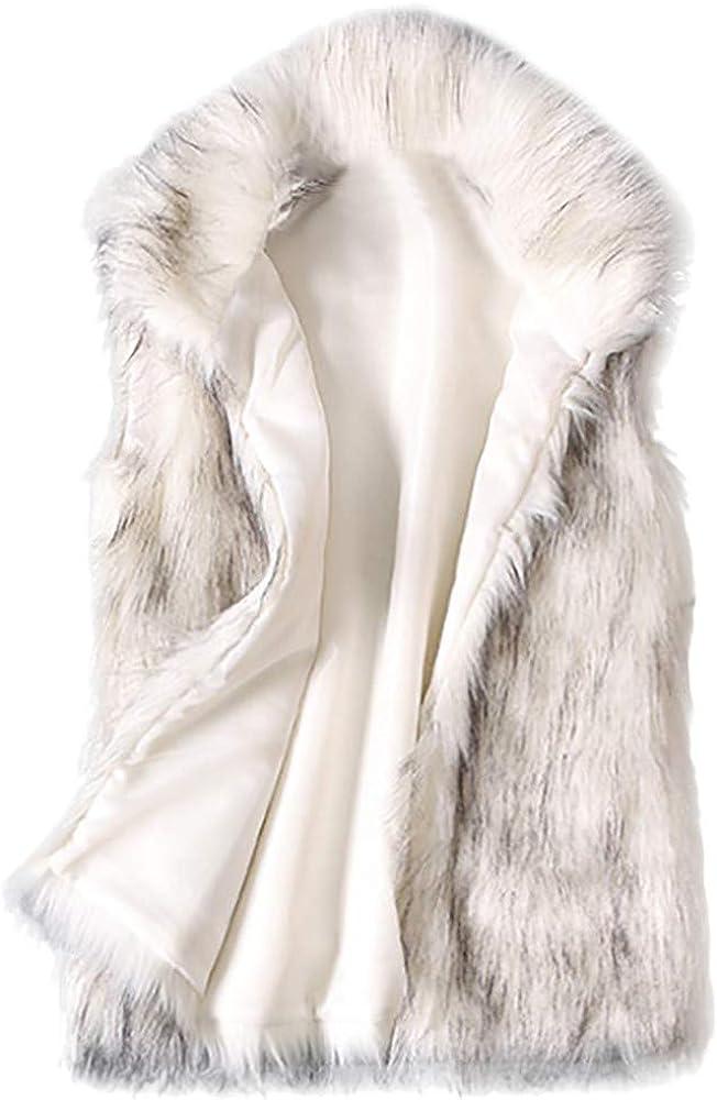 Kulywon Women's Wool Vest Faux Fur Vest Stand Collar Faux Fur Coat Vest Jacket