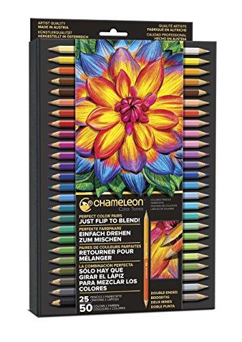Chameleon Art Products, Multicolor Tones Pencils, with Convenient Storage Case - 50 Colors