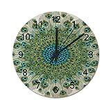 Reloj de Pared Redondo con Mandala Colorido de Pavo Real Masculino, Relojes silenciosos rústicos, decoración del hogar de la cabaña del Campo