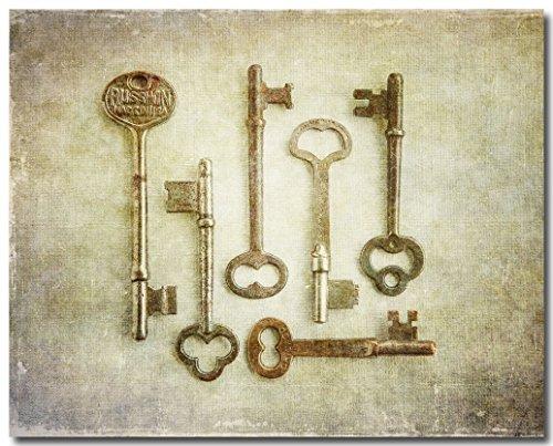 Vintage Gold Skeleton Keys Art Print (Not Framed) for Foyer, Kitchen or Office Wall Decor. 8x10, 11x14 or 16x20. (FBML)