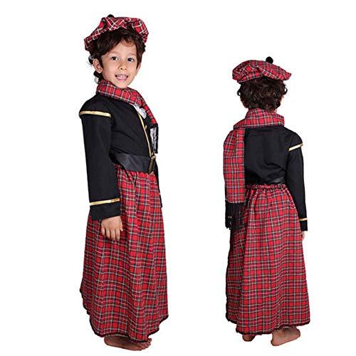 SSRSHDZW Écossais garçon Enfants Maternelle Vacances fête Cosplay scène Costume Cosplay Costume Performance Costume Carnaval Masque Jeu de rôle Costume,XL