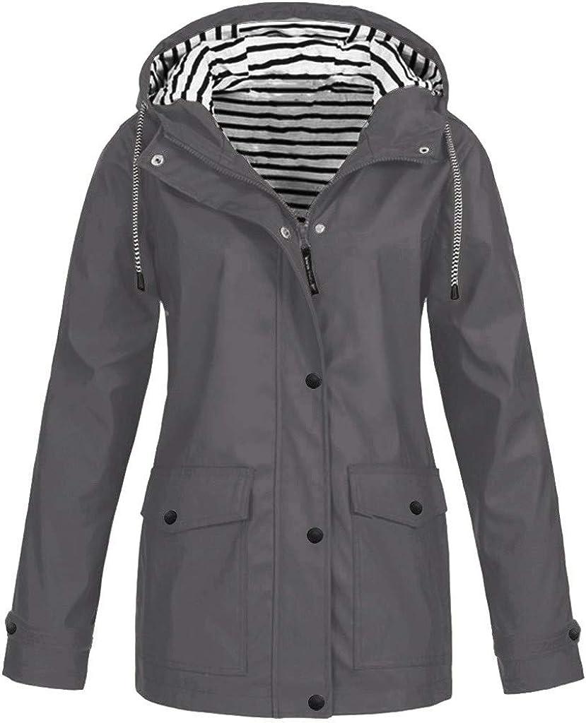 BEUU Women's Waterproof Raincoat Outdoor Hooded Rain Jacket Windbreaker Lightweight Windproof Trench Coat Plus Size